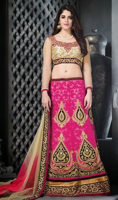Add The Sense Of Feminine Beauty By This Pink Net Lehnga Choli. The Stunning Butta Work|Resham|Stones Work A Considerable Feature Of This Dress.  #FushiaPinkEmbroidredCholiCollection