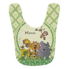 #DesignsByDonnaSiggy #Safari #Jungle #Baby #Animals #Nursery #Theme #gifts #baby #zazzlebesties #zazzle.com #bib