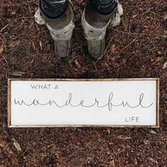 What A Wonderful Life | Wood Sign farmhouse signs, rustic signs, fixer upper style, home decor, rustic decor, inspiring quotes, wood sign sayings, magnolia market, rustic signs, boho, boho style, eclectic living, living room inspiration, joanna gaines decor