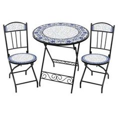 Delightful Three Piece Villa Azul Outdoor Bistro Dining Set With Hand Arranged Ceramic  Tiles. Includes One Folding Table And Two Folding Chairs.