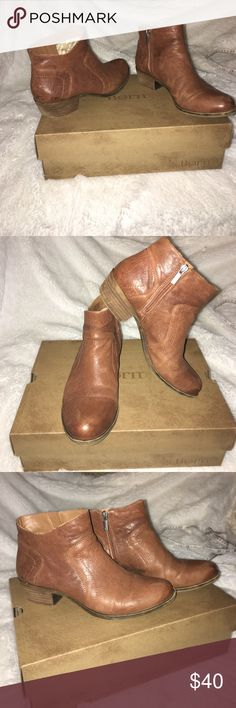 Cognac Brown Lucky Brand Leather Booties 1.5 inch stacked heel. Worn only a handful of times. Great used condition! Any wear & tear shows only minimally on the soles/heel and really only contributes to the cool & casual look of these booties! Lucky Brand Shoes Ankle Boots & Booties