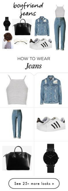 """how to wear boyfriend jeans ?!!!"" by mathildepl07 on Polyvore featuring Topshop, adidas, Givenchy, Gucci, CLUSE and boyfriendjeans"