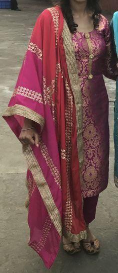 Palazzo suit Punjabi Suit Neck Designs, Neck Designs For Suits, Kurta Designs Women, Blouse Designs, Banarsi Suit, Designer Party Wear Dresses, Indian Designer Suits, Suit Pattern, Beautiful Suit