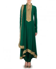 Gota Embellished Green Anarkali Suit - Citrus By Shibani - Designers