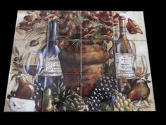 This beautiful artwork by Tre Sorelle Studios has been digitally reproduced for tiles and depicts 2 wine bottles in this tuscan scene. Our decorative tiles with wine are perfect to use for your kitchen backsplash tile project. A wine tile mural adds elegance and interest to your kitchen wall tile area and makes a wonderful kitchen backsplash idea.