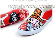 Special Peking Opera Hand Painted Canvas Shoes,Low-top Painted Canvas Shoes