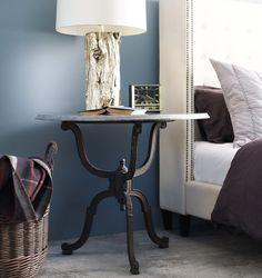 French Industrial Iron + Bluestone Bistro Round Pedestal Table | Zin Home