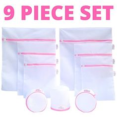 3044916c5a Set of 9 Lingerie Bags for Laundry - Industrial Strength Mesh - 3  Reinforced Double Layered Bra Bags   6 Premium Mesh Laundry Bags - Laundry Washing  Bag ...