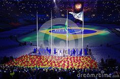 Rising of Brazilian flag and Brazil`s National Anthem during Rio2016 Olympic closing ceremonies. Photo taken on Aug 21st, 2016
