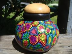 Polymer Clay, Wooden top, Colorful Stash jar. $30.00, via Etsy.