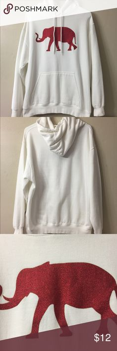 White / Red Elephant Hoodie White hoodie with a red Elephant on the front (Roll Tide).  Tag reads that it is a men's / unisex medium and is sized that way but IMO it's more of a girls hoodie because the Elephant has a glittery appearance to it.   Very small amount of chipping on the top part of the elephants glitter and a small stain on the back of the hoodie in the lower right section (see pics for both flaws). Tops Sweatshirts & Hoodies