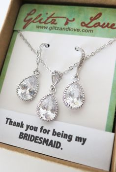 Cubic Zirconia Teardrop Jewelry Set, Wedding Bridal Bridesmaid Earrings and Necklace, Cubic Zirconia Earrings, Silver gift for her, www.glitzandlove.com