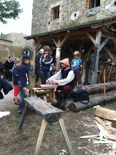 Reenactment at Castle Malesov, Kutna Hora, Czech Republic. September 2, 2012. Shell Game, nice benches, lean to.