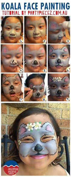 Adorable koala face painting tutorial for kids from Jellyfish Prints.