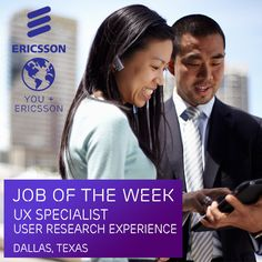 Are you a skilled #UX specialist with a solid understanding of user #research methodologies? #Ericsson is currently seeking a UX Specialist to join our team of innovators in Dallas! Apply now: https://jobs.ericsson.com/job/Dallas-QA-Engineer-TX-75201/216450800/