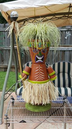 ahh! have to make these guys for the pool area planters! Tiki Guy