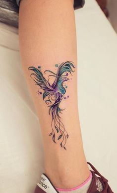 Explosion of colors: beautiful watercolor tattoos by Koray Karagözler . - Explosion of colors: beautiful watercolor tattoos by Koray Karagözler Watercolor Phoenix Tattoo © - Mini Tattoos, Back Tattoos, Body Art Tattoos, Small Tattoos, Tatoos, Temporary Tattoos, Crow Tattoos, Tattoo Calf, Lotusblume Tattoo