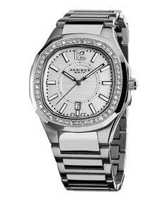 Love this Stainless Steel & Crystal Bracelet Watch on #zulily! #zulilyfinds