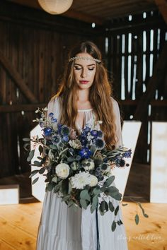 Rhapsody in Blue –  rustic wedding ideas / decorations / flowers / venue / signs / barn / romantic/ boho / bride / weddingdress/ hair accesssories / jeżka