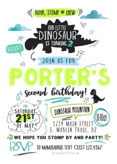 Dinosaur Birthday Invitation/ T Rex/ Dinosaur by FlyOnTheWallink