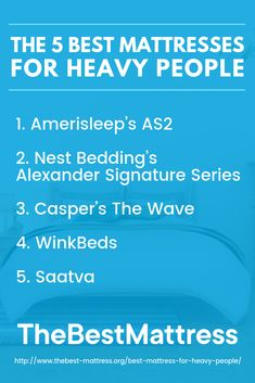 Looking for the best mattress for heavy people? Consult our guide which offers general mattress shopping tips and recommends 5 different mattresses. Best Mattress, Mattress Brands, Shopping Hacks, Helping People, Life Hacks Shopping
