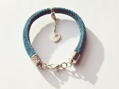 Turquoise Metallic Glitter Cord Bracelet with Sterling Silver Heart Charm by FineryBox on Etsy