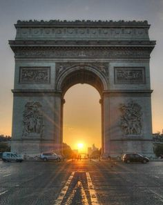 France-Arc de Triomphe at Sunset, Paris can be seen only on the date of winter solstice in DEC. Paris France, Oh Paris, Paris Travel, France Travel, Places To Travel, Places To See, Wonders Of The World, Beautiful Places, Amazing Places