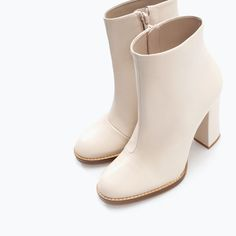 Image 4 of WIDE-HEELED LEATHER BOOTIE from Zara $119.00 Size 6 1/2 or 6.5