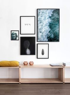 Land & Sea  DIY Home Decor | Wall Art | Gallery Wall Ideas | Home Decor ideas | Find Scandinavian wall decor ideas, inspiration and more modern minimalist posters and art prints at Opposite Wall.com - From left, clockwise: Comfort (P10036), Zen (P10124), Emerald (P10147), Pretty Pine (P10019), Reflection (P10054)