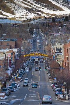 City view of downtown and Washington Avenue, Golden, Colorado, USA