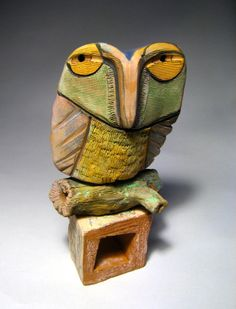 Owl Sculpture Whimsical Ceramic ArtOwl Person at by BlueFireStudio, $95.00
