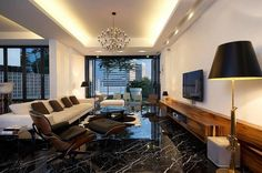 Flooring Ideas, Black Marble Flooring For Modern Living Room Design With White Sofa And Wooden Case Relaxing Chair Under Elegant Chandelier: Tips to Maintain Marble Tile Flooring