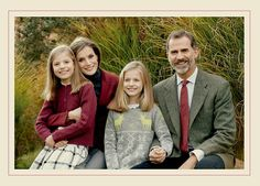 The Spanish Royal Family's 2016 Official Christmas Card. King Felipe VI of Spain, Queen Letizia, Princess Leonor & Infanta Sofía's Christmas Card.