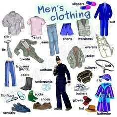 Men's clothing - #Vocabulary #English
