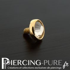 Microdermal Or Cristal clos blanc - Piercing-Pure 14 Carat, Serti, Piercings, Rings For Men, Pure Products, Jewelry, Flower, Crystal, Men