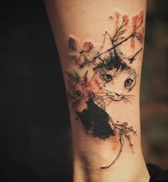 Beautiful watercolor cat and flower tattoo - 100+ Examples of Cute Cat Tattoo