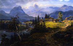 View of Øylo Farm, Valdres.Johan Christian Dahl (1788-1857)