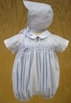 $42 Will'Beth Newborn Baby Boy Smocked Blue White Romper w/ Hat