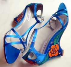 Wedding shoes Painted orange roses Electric Blue by norakaren, $225.00