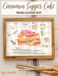 This free Cinnamon Supper Cake Illustrated Recipe Printable is both a delicious recipe AND artwork for your kitchen. Illustrated Recipe, Printable Recipe Cards, Recipe Printables, Vanilla Milk, Milk Cake, Pumpkin Pie Recipes, Food Illustrations, Summer Recipes, Holiday Crafts