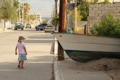 Walking the neighborhood streets in La Paz. Good place to tie up a boat. Baja Mexico.