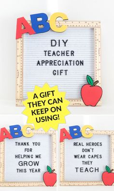 DIY Teacher Appreciation gift idea! A gift they can keep on using! #teachergift #letterboard #teacherappreciation #endofschoolyeargift #diyteachergift