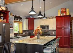 Kitchen Makeover with red cabinets