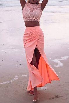 lace crop top + high-waisted skirt