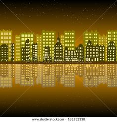 City with  pixel building night - stock vector