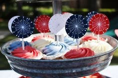 4th of July cupcake toppers, patriotic cupcake toppers; 4th of July party