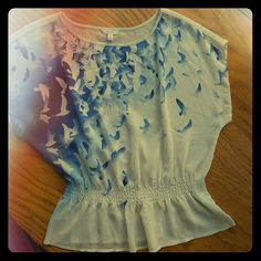 Carrie's sheer top White with shades of blue.  Birds flying. Elastic at the waist Candie's Tops