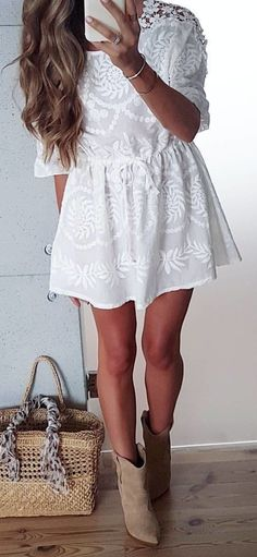 #summer #outfits White Lace Dress + Beige Booties