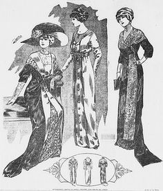 Afternoon gowns in satin, velvet and crepe de chine. From The Woman's Page of the Times-Dispatch, Richmond, Virginia, January 21, 1912.  Via Jo of Bridges On The Body.