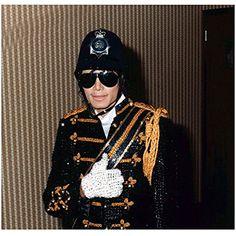 Michael Jackson 8 inch x 10 inch PHOTOGRAPH Singer Thriller British Police Hat Black & Gold Uniform Jacket Glittering Right White Glove Sunglasses kn